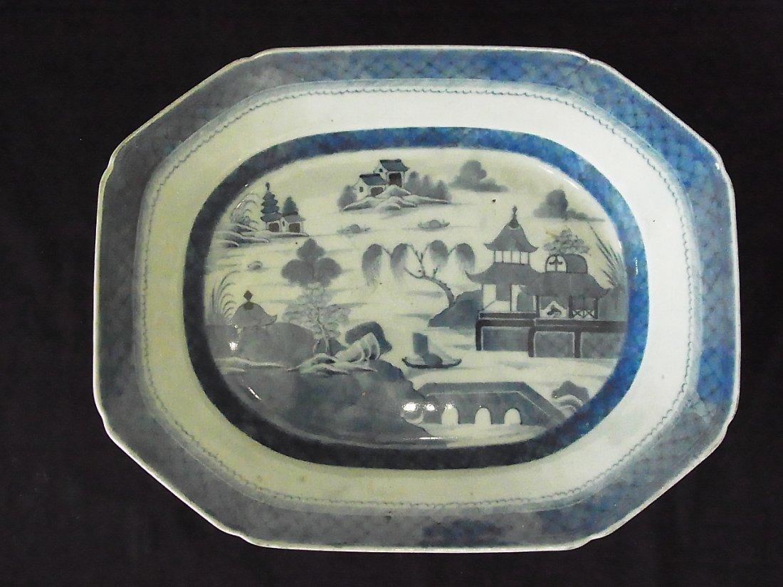 """14"""" Platter Canton Pottery Porcelain Ceramic Blue White"""