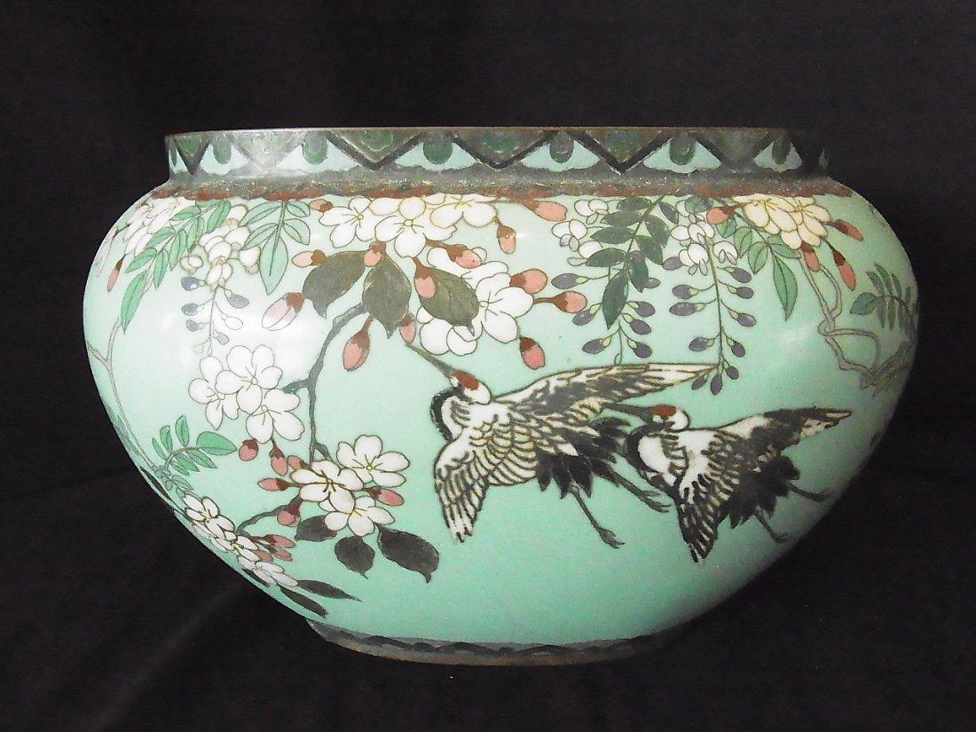 Old Crane & Blossom large Cloisonne Bowl Pot Jardiniere