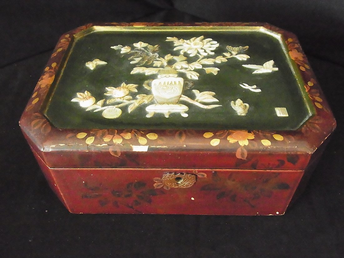 Lacquer MOP Inlaid Chinese Or Perhaps Japanese Box  9 1