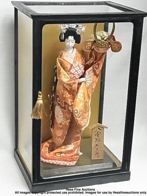 67: Japanese Porcelain Geisha Doll Signed Stamped Plaqu