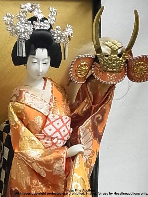 67: Japanese Porcelain Geisha Doll Signed Stamped Plaqu - 2