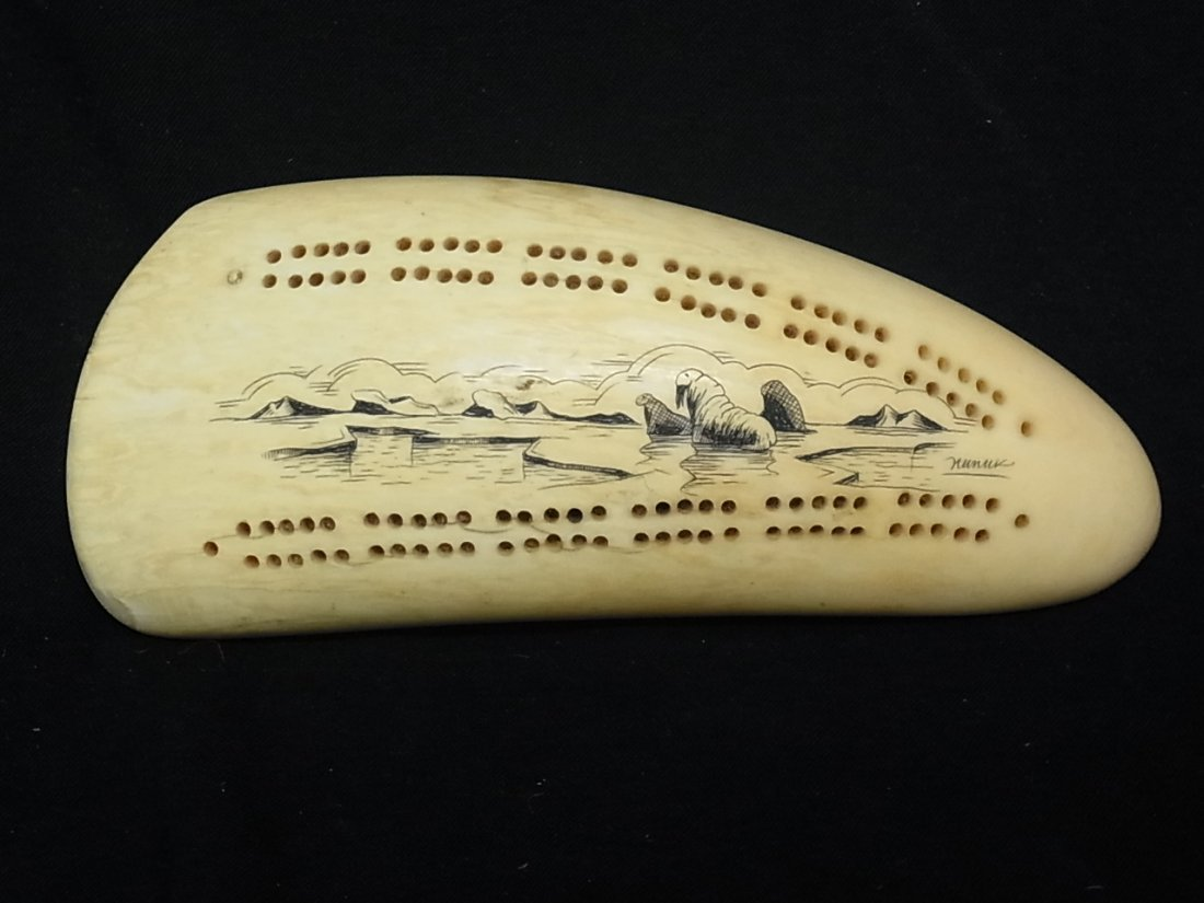 86: Vintage Artist Signed Walrus Ivory Scrimshaw Whale
