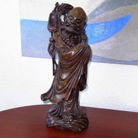 """1: Very Large Antique 21"""" High Carved Scholar or Deity"""