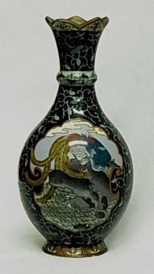 Exceptional Ovoid Medallion Scenic Narrative Cloisonne