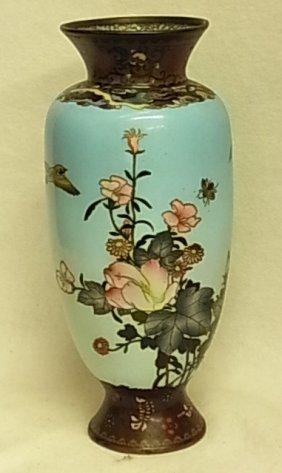 """Old Cloisonne Robin Egg Blue Ground 10"""" Vase Florida Gu"""