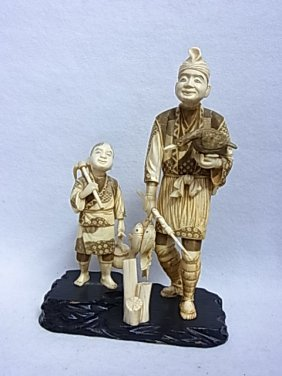 """Carved Ivory 10""""+ High Figure Group Statue Florida Gulf"""