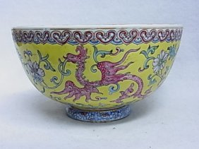 Large Old Dragon Bowl Pottery Porcelain Ceramic Florida