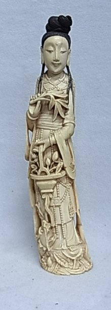 """Fine 11"""" Guayin Or Woman Carved Ivory Statue Sculpture"""