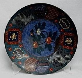 """14 ½"""" Diameter Charger Floral & Geometric Cloisonne Flo"""