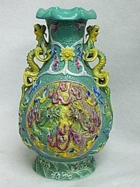 Double Dragon Hi Relief Porcelain Pottery Ceramic Signe