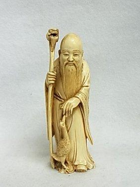 Hand Carved Ivory Scholar Deity Signed Statue Florida G