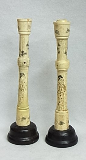 26: Pair Flutes Cylindrical Engraved Ivory Objects Poss