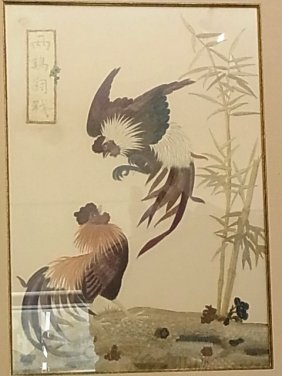 Exceptional Artist Signed Fighting Cocks Silk Embroider