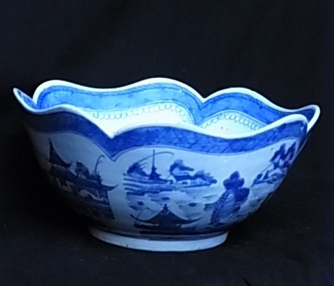 3: Fine Large Scalloped Scenic Bowl Hand Painted Blue &