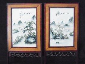 37: 2 Panel Chinese Porcelain Signed Landscape Table Sc