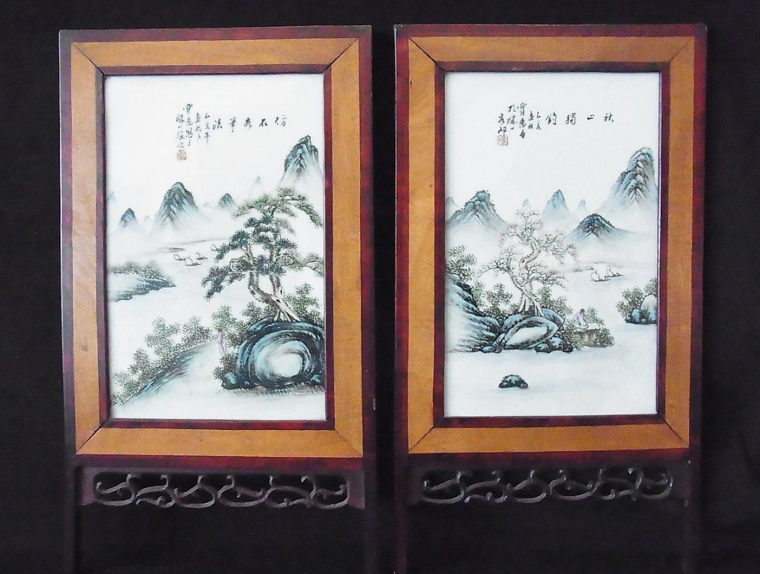 37: 2 Panel Chinese Porcelain Signed Landscape Table Sc