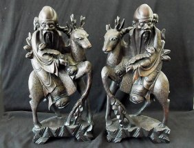 """7: Large Pair 16 3/4"""" High Chinese Silver Inlaid Huang"""