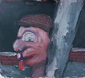 """Wade Chandler """"Ungloved Head"""" 1980 Acrylic on Paper 7"""""""