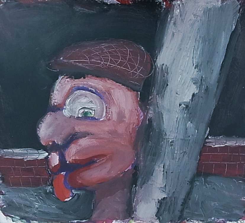 "Wade Chandler ""Ungloved Head"" 1980 Acrylic on Paper 7"""