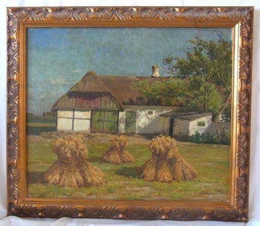 Marius Nielsen Signed Danish Haystacks Farmyard Barn La