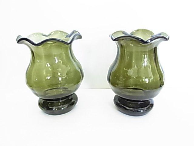 Pair Early American Blown Dark Green Glass Tulip Vases