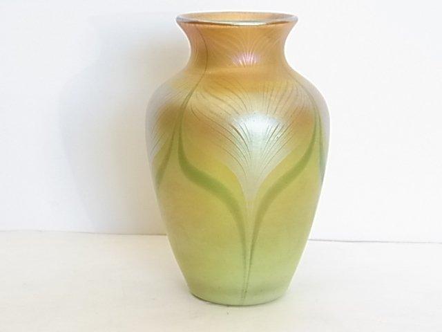 Quezal Art Glass Signed Pulled Feather Vase Art Nouveau