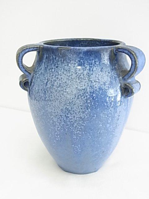 C.1930 Fulper Blue Crystaline Flambe 3 Handled Vase