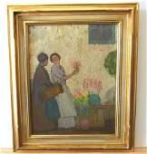 Roy C. Gamble Impressionist Market Scene Women & Flower