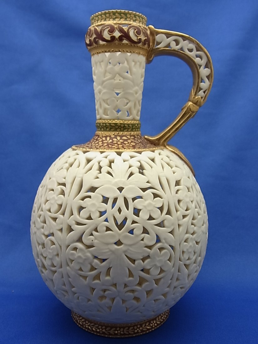1890s Grainger & Co. Royal Worcester Reticulated Islami