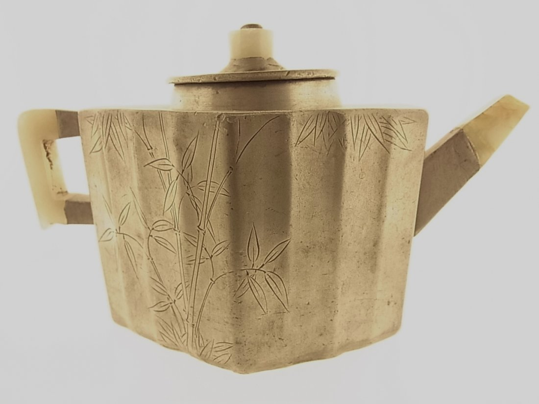 Signed Chinese Paktong Teapot With Jade Spout & Handle