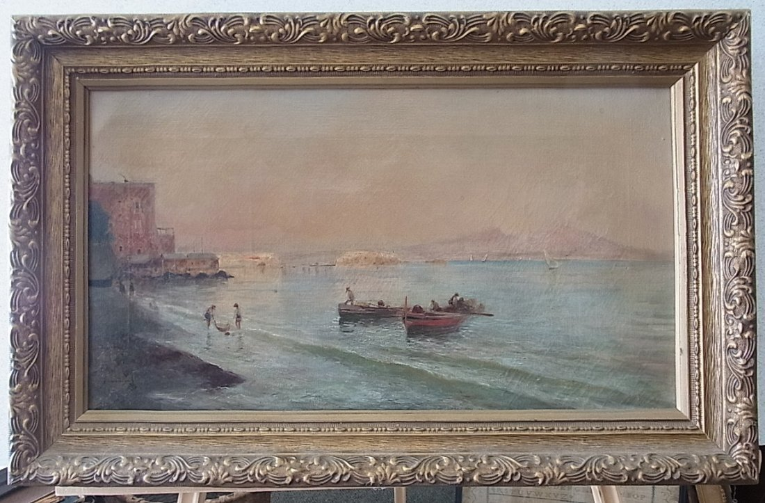 Oscar RICCIARDI Oil on Canvas Italian Fishing Harbor Sc