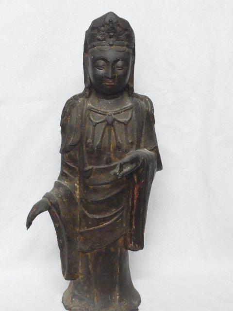 Large Antique Signed Buddhist Goddess Bronze Statue
