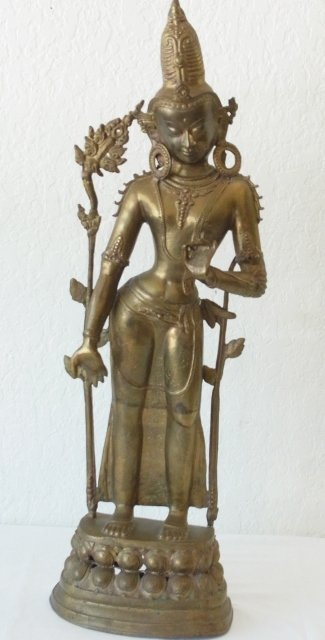 Lg 33 inch Tall Gilt or Dore Bronze or Brass Statue