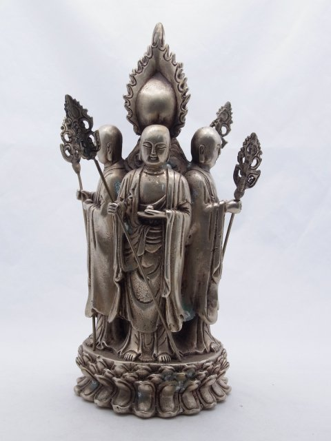 Antique Silvered Bronze or Silver on Brass Statue Sculp