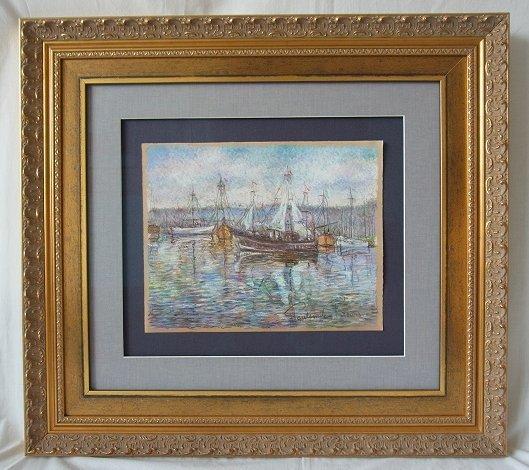 Original Paul Emile Pissarro Signed Harbor Scene Pastel