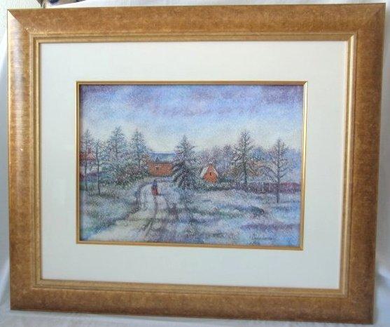 Large Original Hugues Claude Pissarro Pastel Painting F