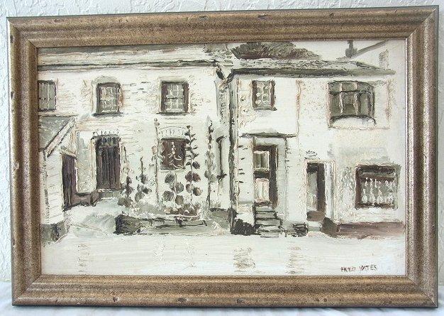 Orig Fred YATES Signed Titled POLPERRO Cornwall Village