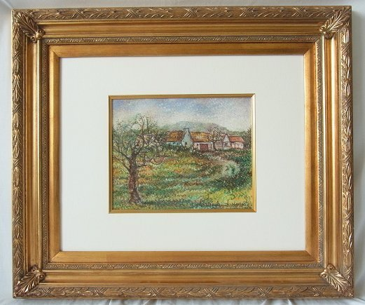 Orig Paul Emile Pissarro Pastel Painting Country Home H