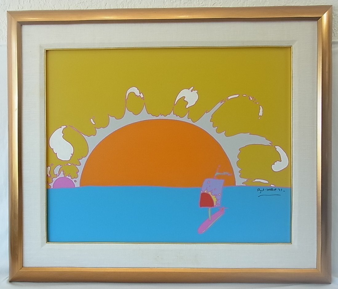 Important 1971 Peter Max signed Original Zen Sailboat a