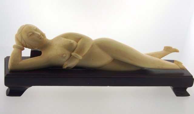 Sensual Early 1900s Chinese Carved Nude Female Figure