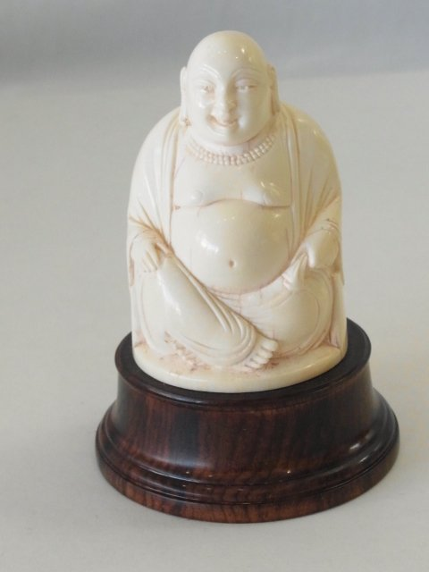 Antique Ivory Chinese Carved Seated Laughing Budai Budd