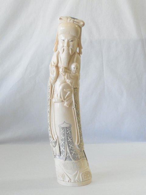 Antique Carved Inked Japanese Solid Ivory Tusk Jurojin