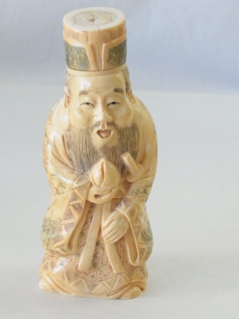 Beautifully Carved Polychrome Japanese Ivory Figure Jur