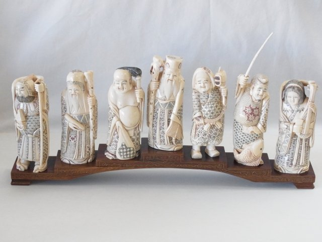Antique Japanese Carved Ivory Seven Lucky Gods Set with