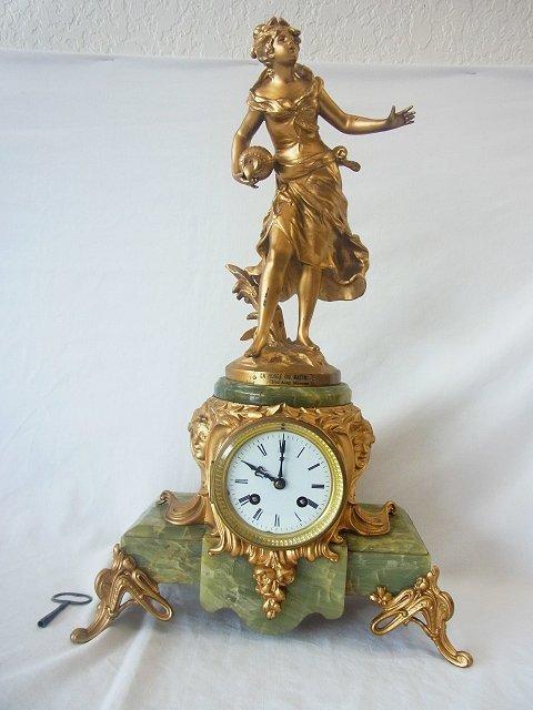 Louis Auguste Moreau Figural Gilt Dore Statue Clock Fre