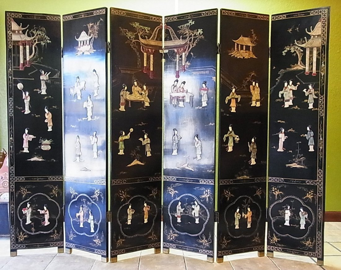 Antique 6 Panel Lacquered Relief Gilded Folding Screen