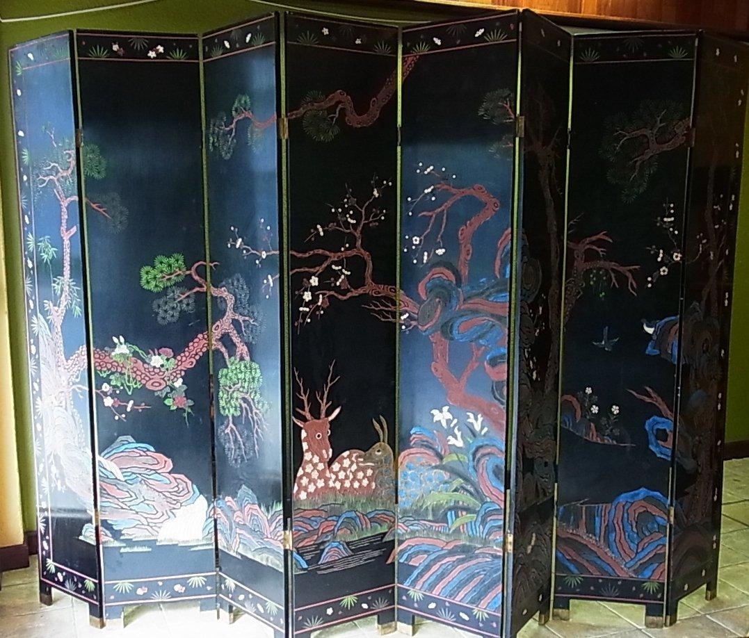 Lg Antique Asian Coromandel Screen Eight Panel Black La