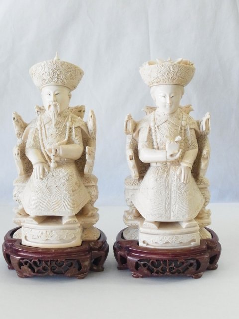 Intricately Carved Ivory Pair Chinese Emperor & Empress