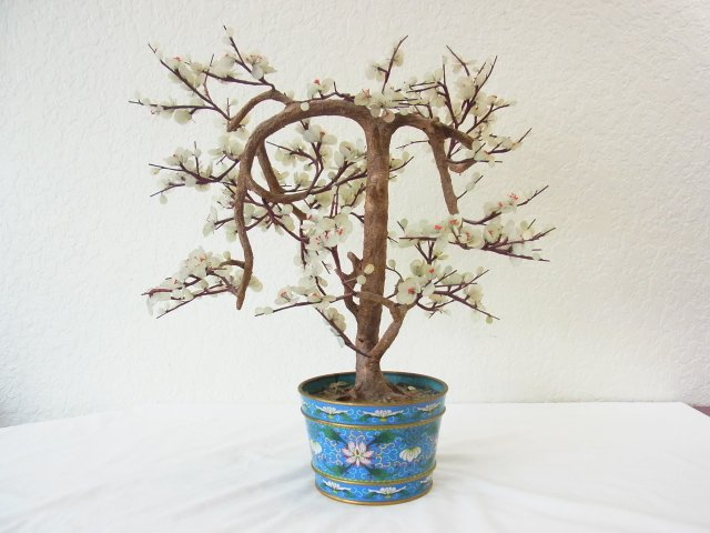 Vintage Chinese Jade Dogwood Bonsai Tree within Blue Cl - 10