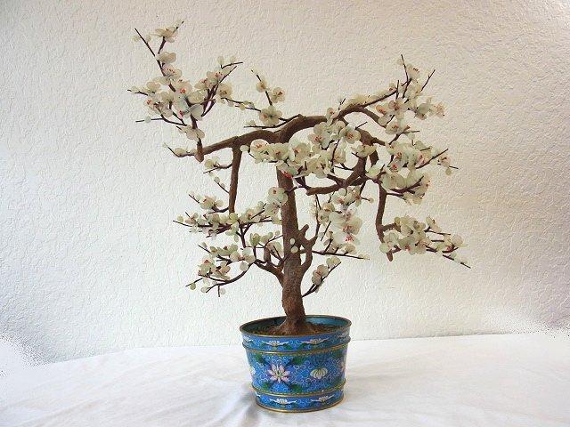 Vintage Chinese Jade Dogwood Bonsai Tree within Blue Cl